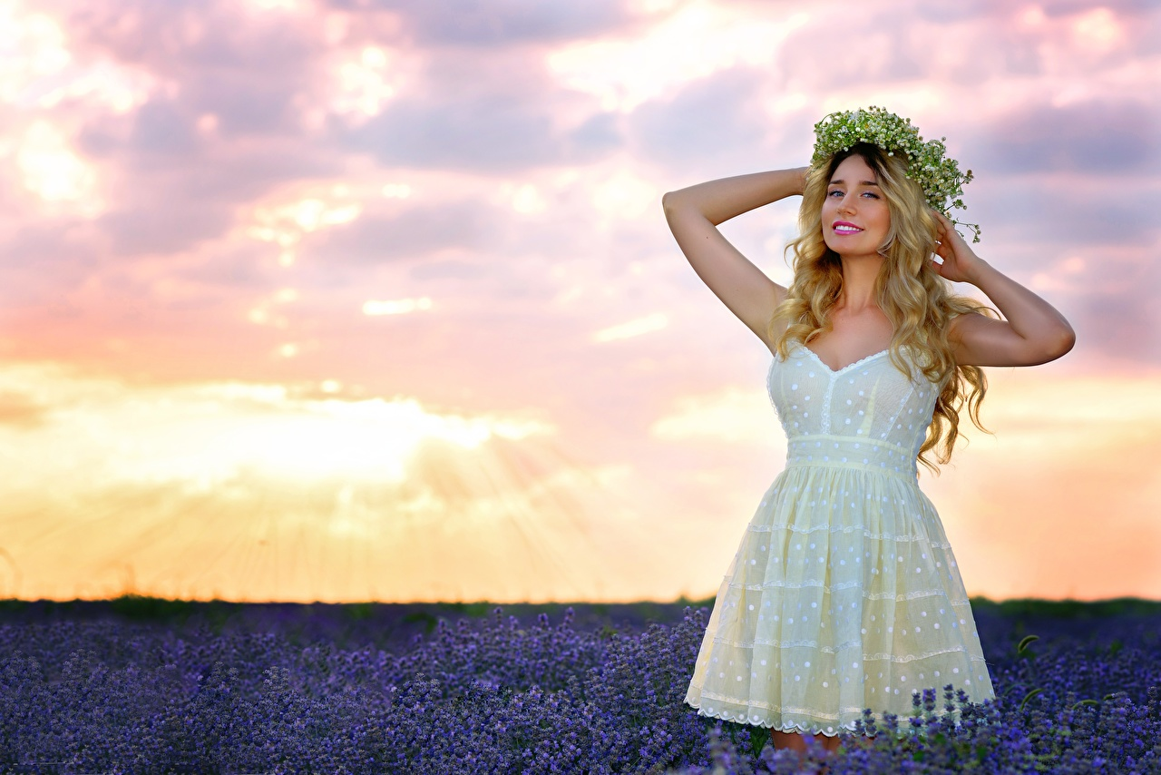 Photo Blonde girl Pose Wreath young woman Fields Lavandula Hands frock posing Girls female lavender gown Dress