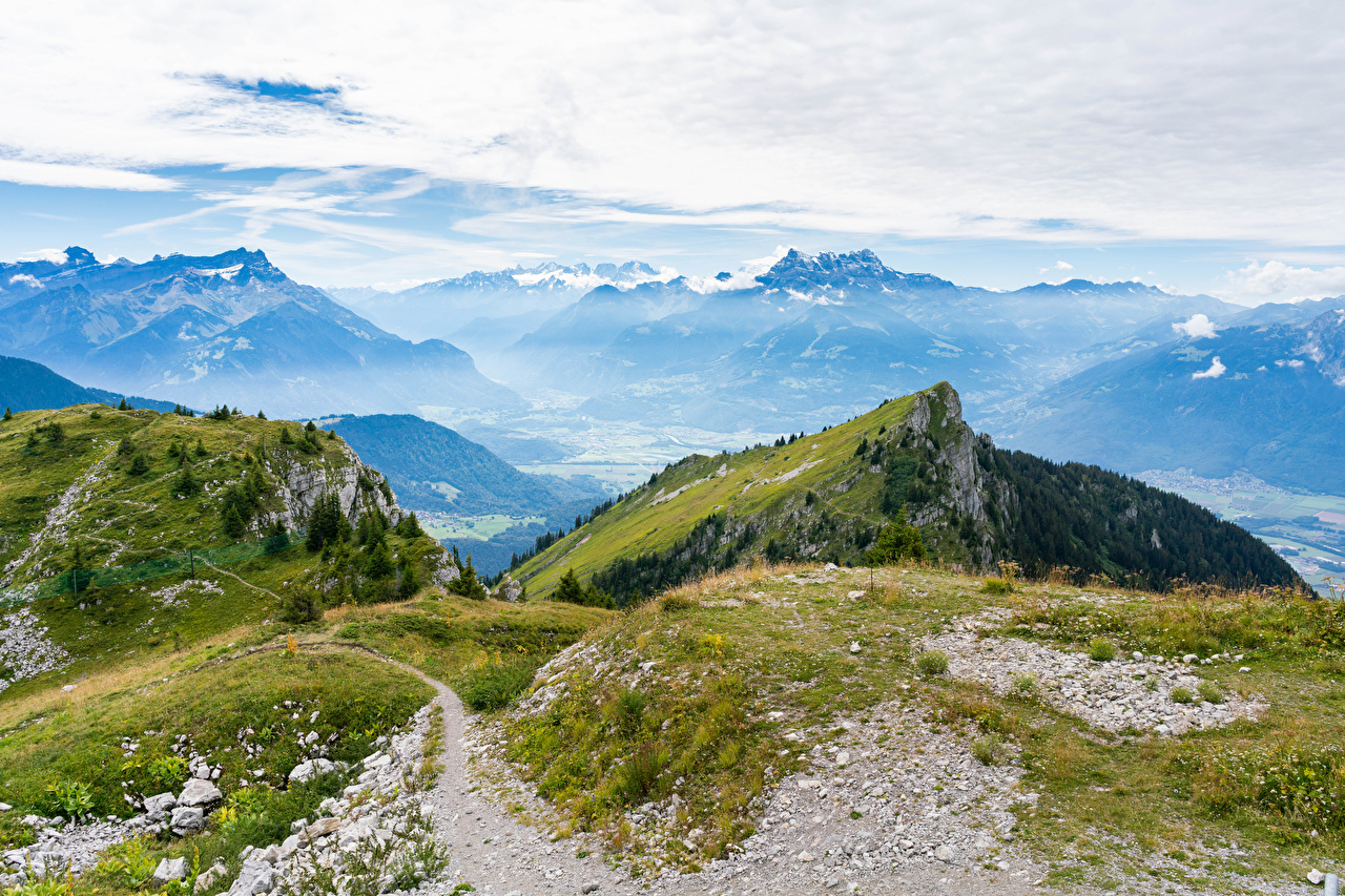 Images Alps Switzerland Leysin, Vaud Nature mountain Moss Mountains