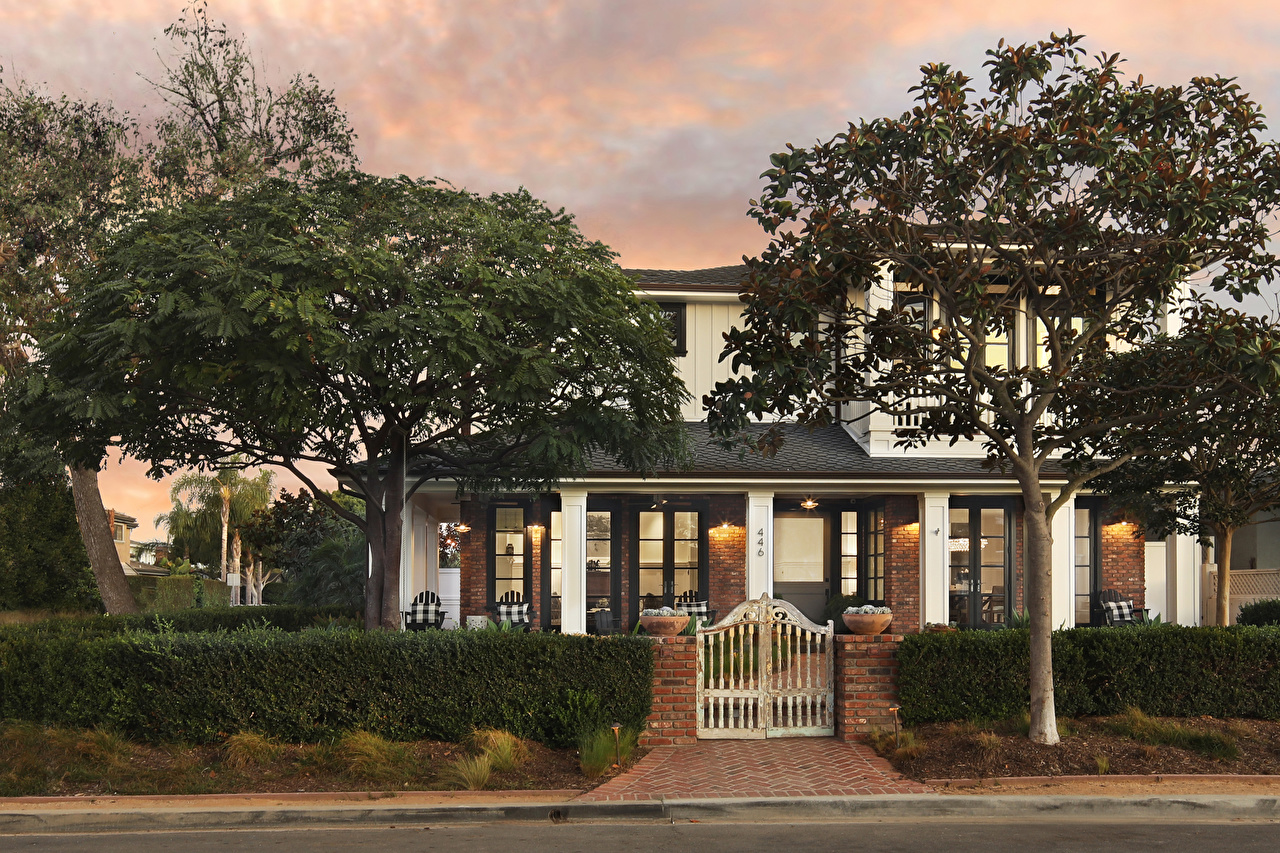 Picture USA Newport Beach Mansion Bush Trees Houses Cities Design Shrubs Building