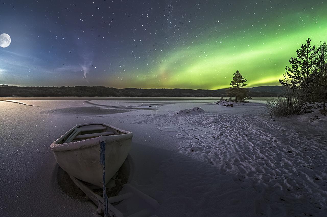 、ボート、湖、冬、雪、オーロラ、夜、自然、