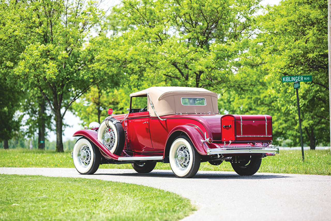 Desktop Wallpapers Buick 1932 Series 90 Convertible Coupe Red vintage Back view automobile Retro antique Cars auto
