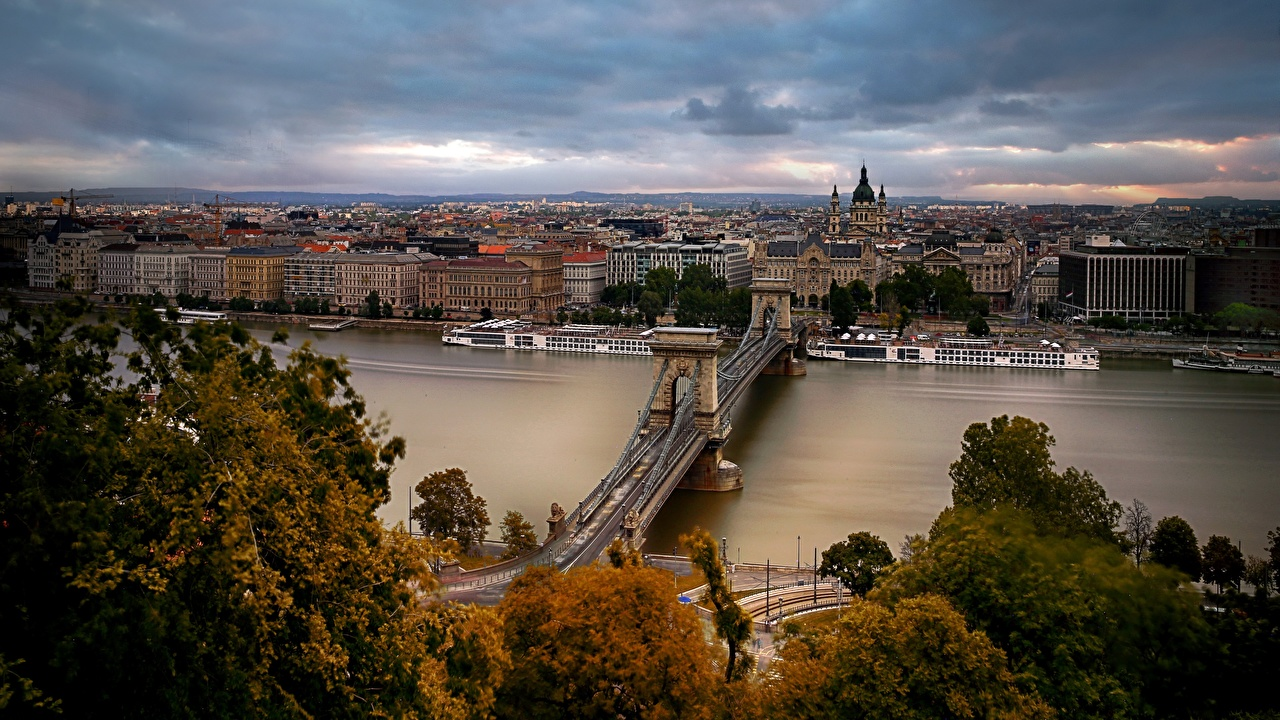 Picture Budapest Hungary Chain Bridge, Danube River, St. Stephen's Basilica bridge Rivers Houses Cities Bridges river Building