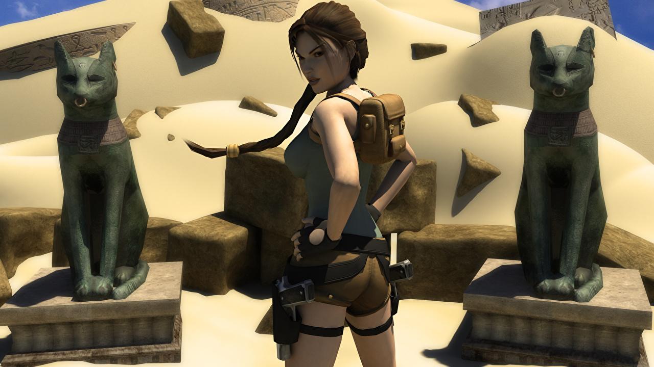Fotos Tomb Raider Tomb Raider Underworld Lara Croft Zopf Pose Mädchens 3D-Grafik Spiele posiert junge frau junge Frauen computerspiel