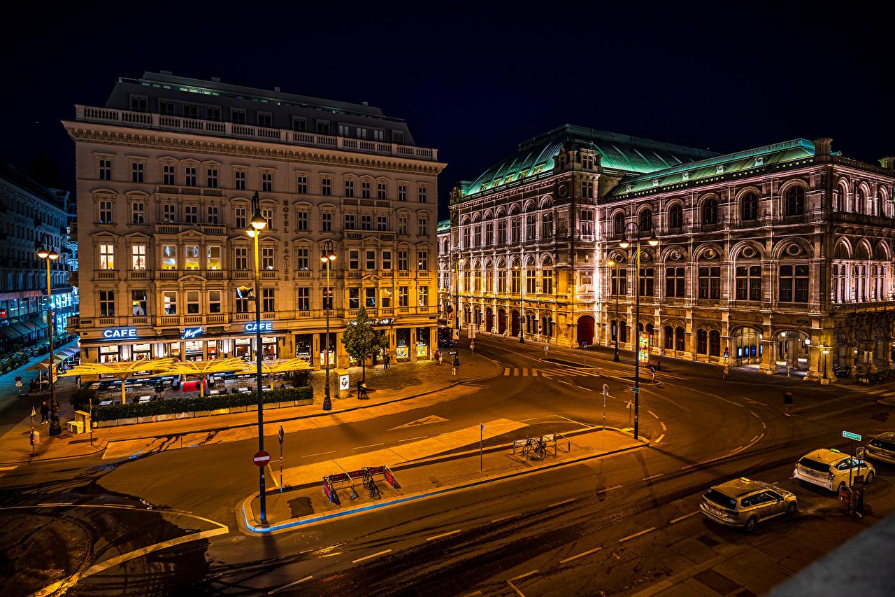 Bilder von Wien Österreich Stadtstraße Nacht Straßenlaterne Städte Gebäude Straße Haus