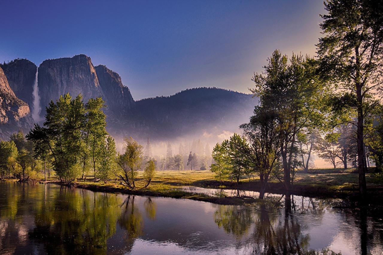 Bilder von Yosemite USA Nebel Natur Gebirge Wasserfall See Park Bäume Vereinigte Staaten Berg Parks