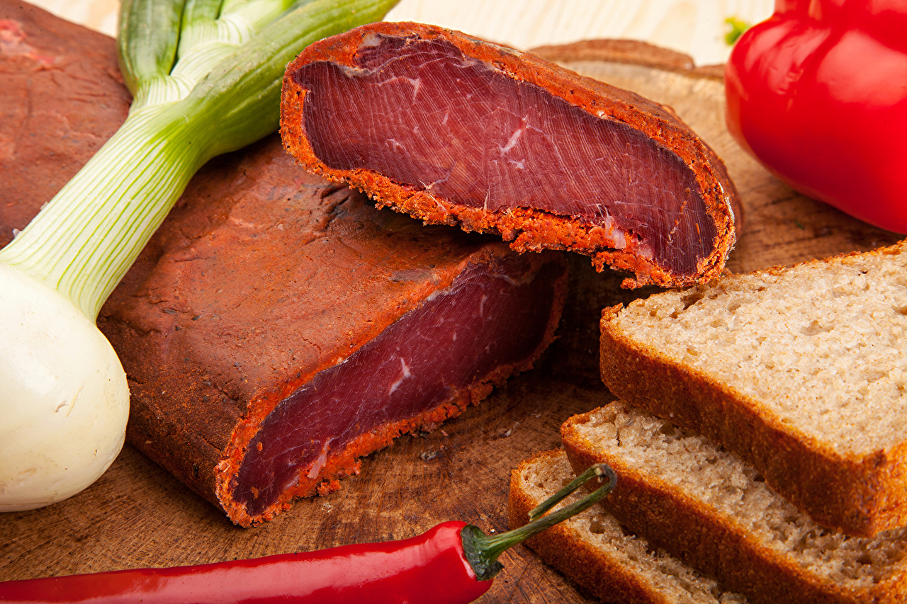 Pictures Onion Ham Bread Food Meat products