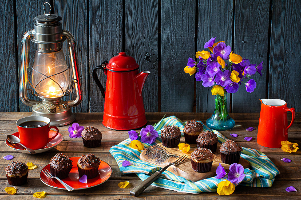 Picture bouquet Petals Coffee paraffin lamp Kettle Jug container Cup Food walls Still-life Little cakes boards Bouquets Kerosene lamp jugs pitcher Wall Wood planks
