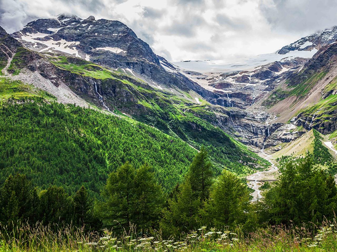Wallpaper Switzerland Morteratsch Glacier Crag Nature Stream Mountains Forests Moss Rock brook Cliff Creek Creeks Streams mountain forest