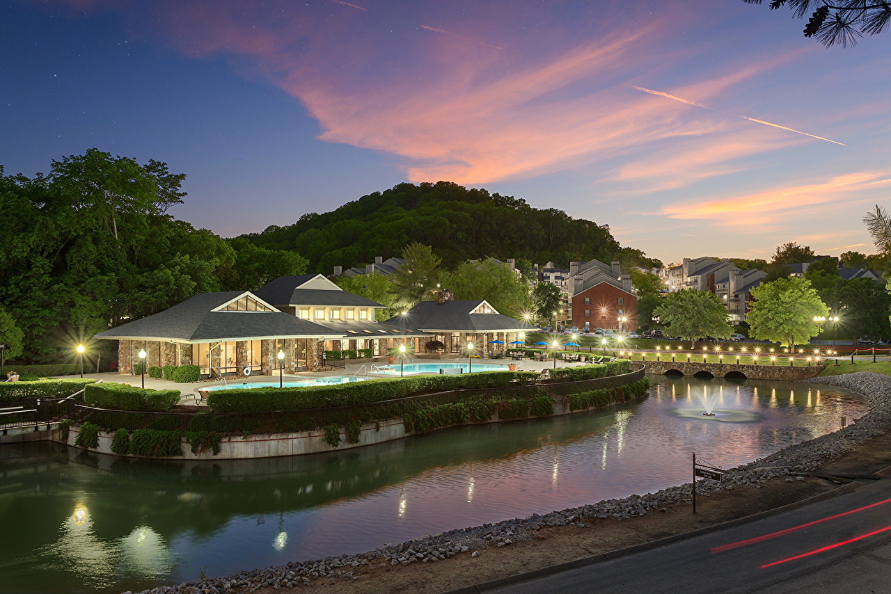 Images USA Nashville Night Rivers Houses Cities river night time Building