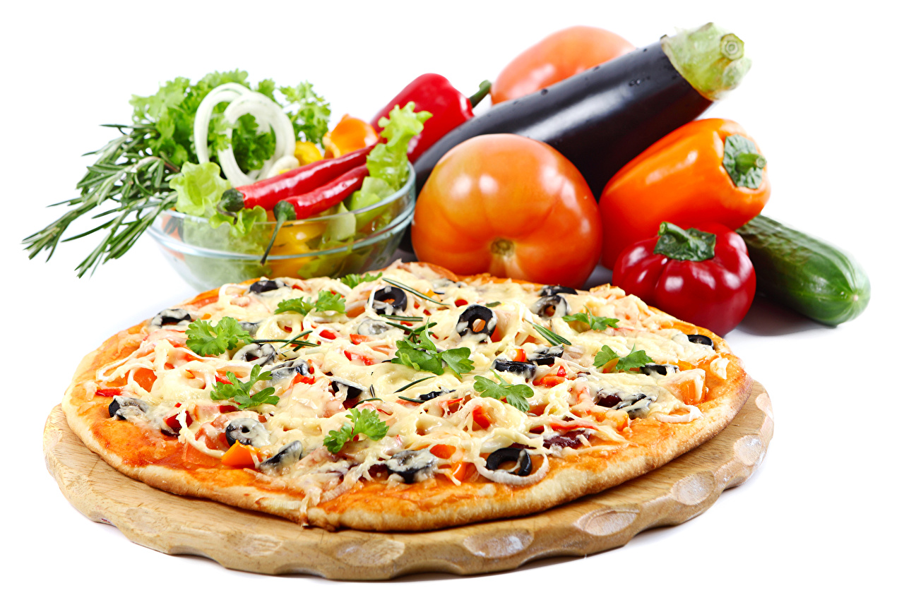 Wallpaper Pizza Tomatoes Fast food Food Vegetables Bell pepper White background