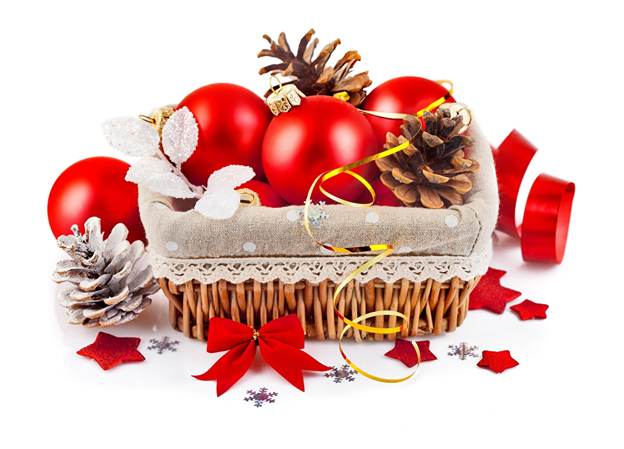 Photo New year Red Wicker basket Balls bow knot Pine cone Holidays Christmas Bowknot Conifer cone