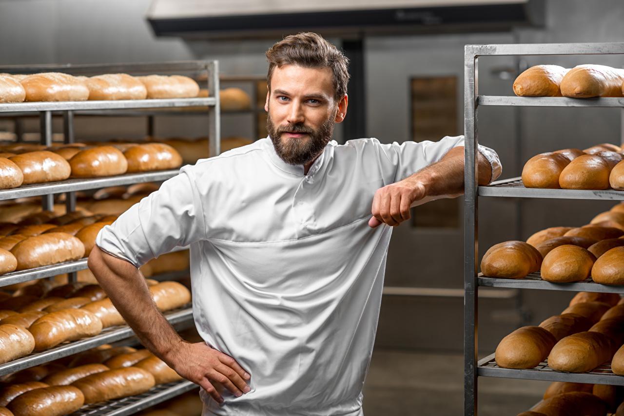 Fotos Mann Brot Küchenchef Starren Blick