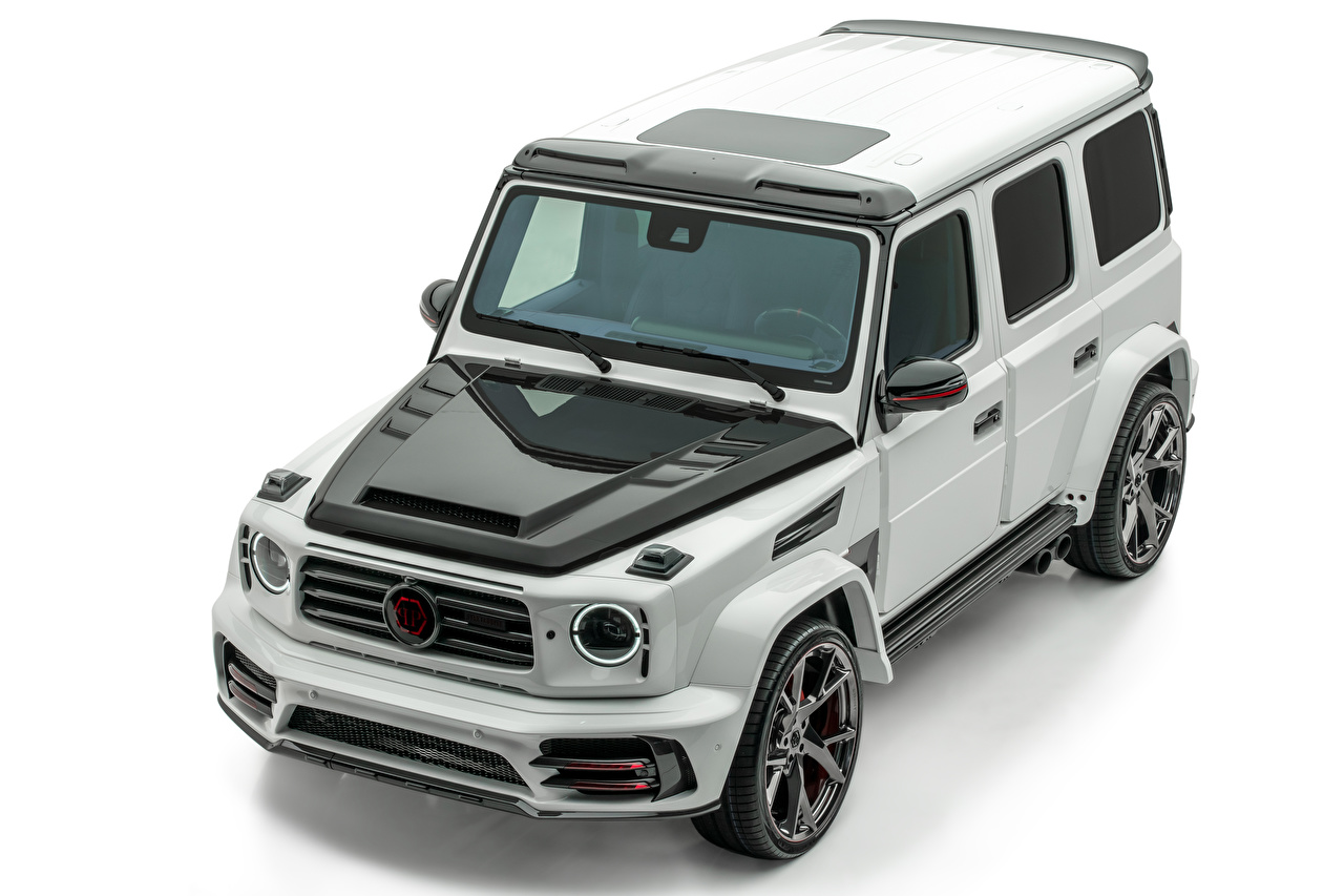 Bilder Mercedes-Benz SUV 2019 Mansory Star Trooper by Philipp Plein Grau auto Weißer hintergrund Sport Utility Vehicle graue graues Autos automobil
