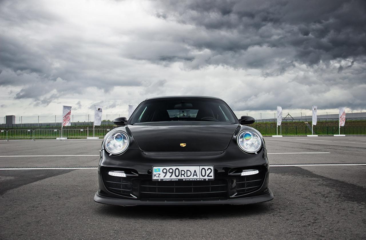 Photo Porsche 911 Almaty Black Front automobile Cars auto