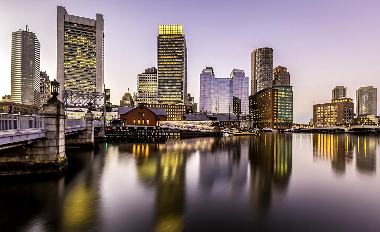 Photo Boston USA Massachusetts bridge Rivers Marinas Houses Cities Bridges Pier river Berth Building