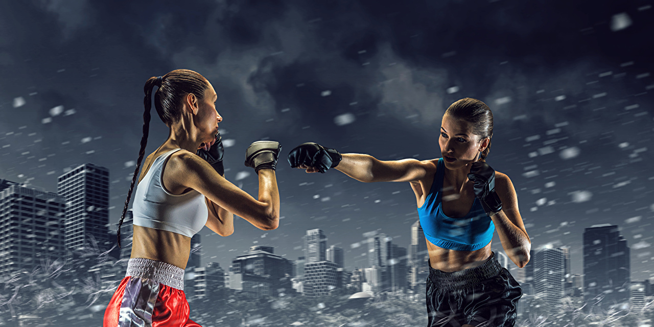 Desktop Wallpapers Brown haired Two Sport female Boxing Hands 2 Girls sports athletic young woman
