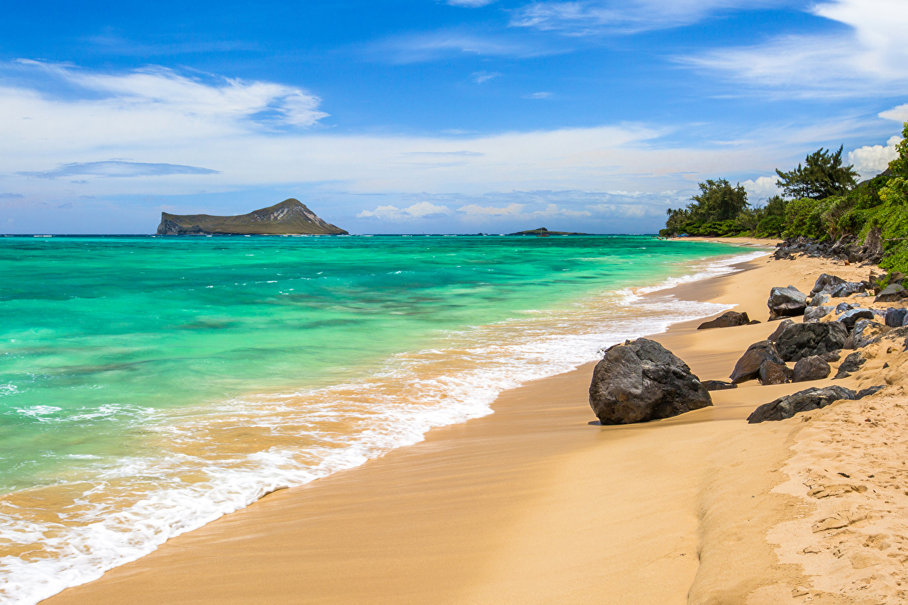壁紙 熱帯 海岸 波 石 アメリカ合衆国 大洋 ハワイ州 砂 自然