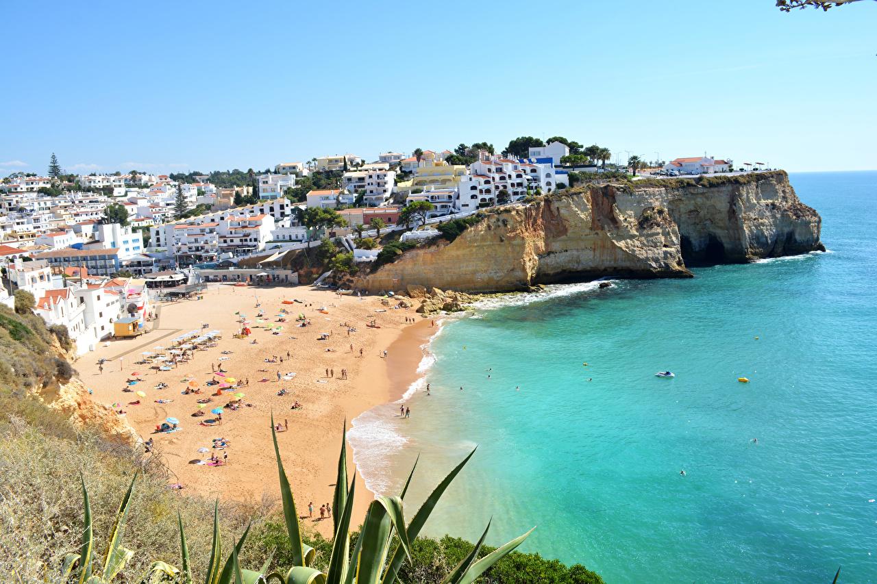 Tapeta Portugalia Praia do Carvoeiro Plaże Wybrzeże Miasta budynki plaża Domy miasto budynek