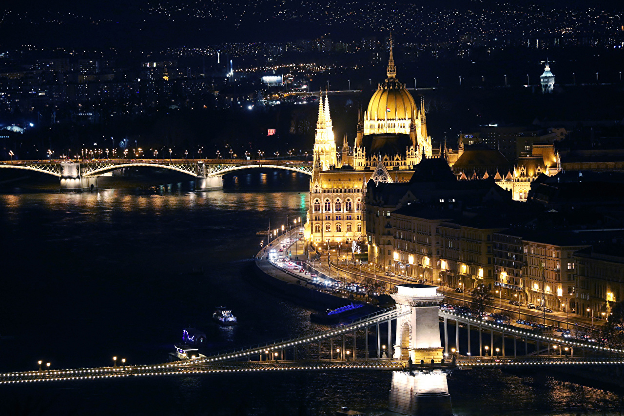 Pictures Budapest Hungary bridge river night time Cities Building Bridges Night Rivers Houses