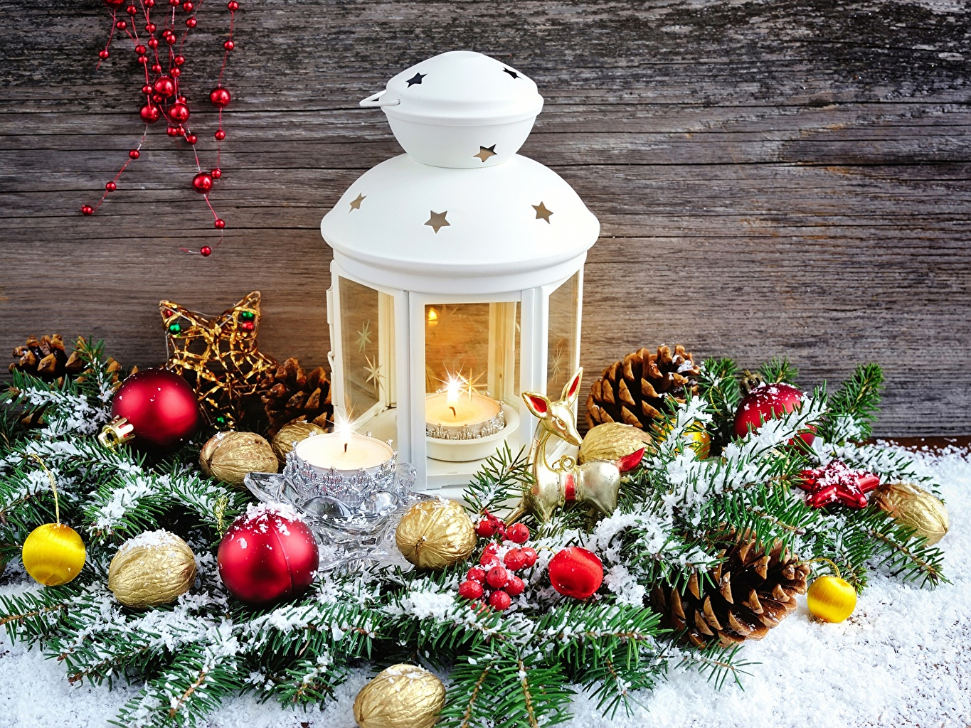 Photos Christmas Lantern Balls Candles Pine cone Nuts Holidays New year Conifer cone