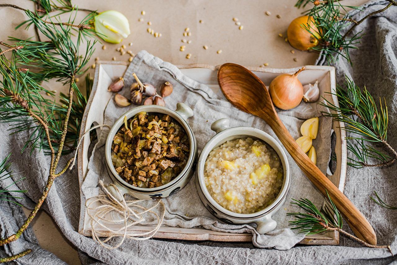 Picture Two Onion Allium sativum Food Spoon Porridge 2 Garlic