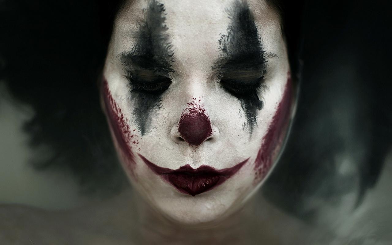 Foto Junge Frauen Make Up Sad Clown Clown Gesicht