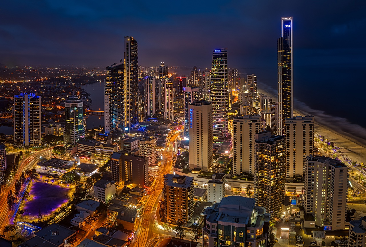 Pictures Australia Queensland, Gold Coast night time Skyscrapers Cities Building Night Houses