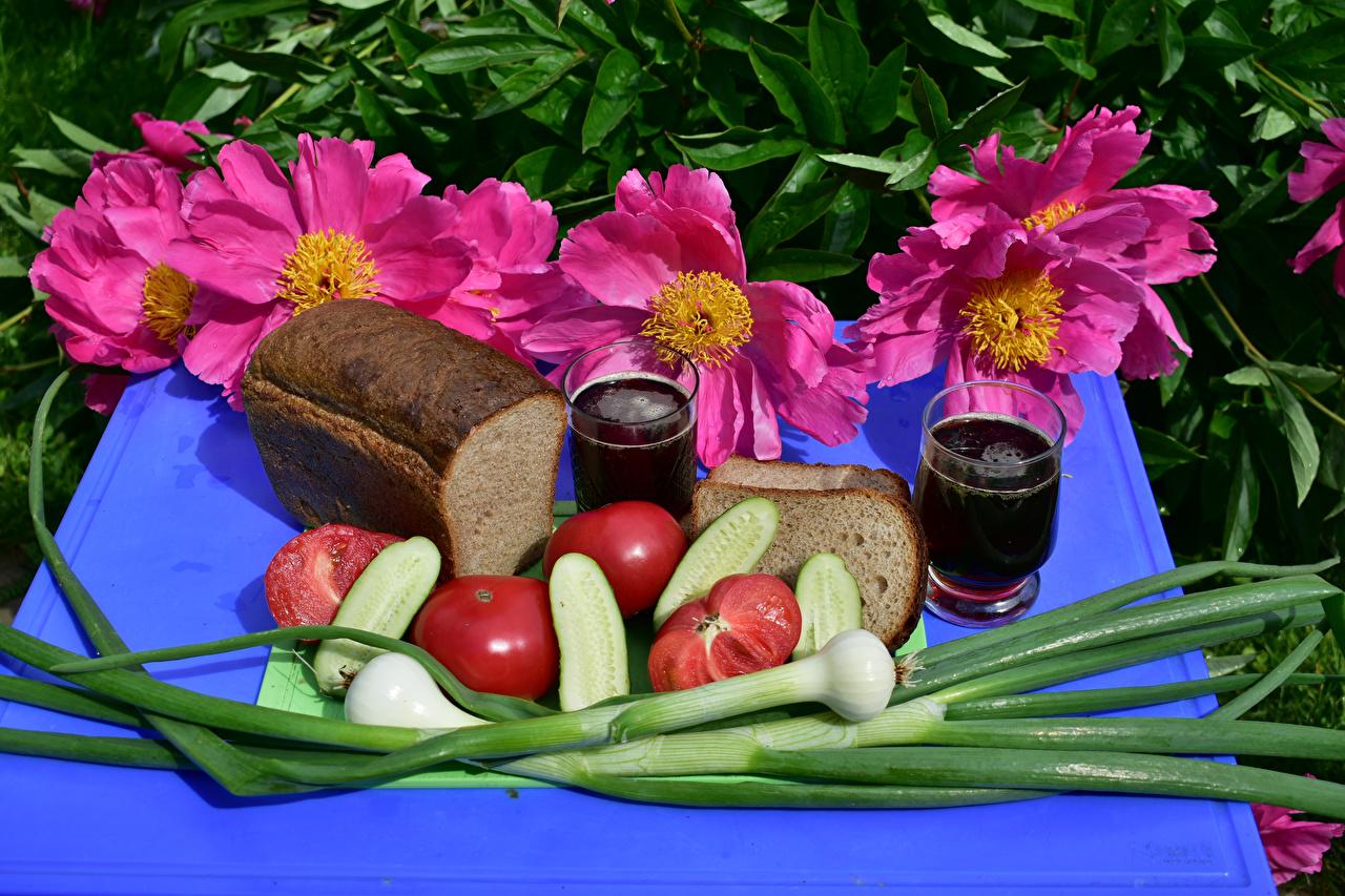 Image Wine Onion Tomatoes Cucumbers Bread Cosmos plant Food Stemware Still-life