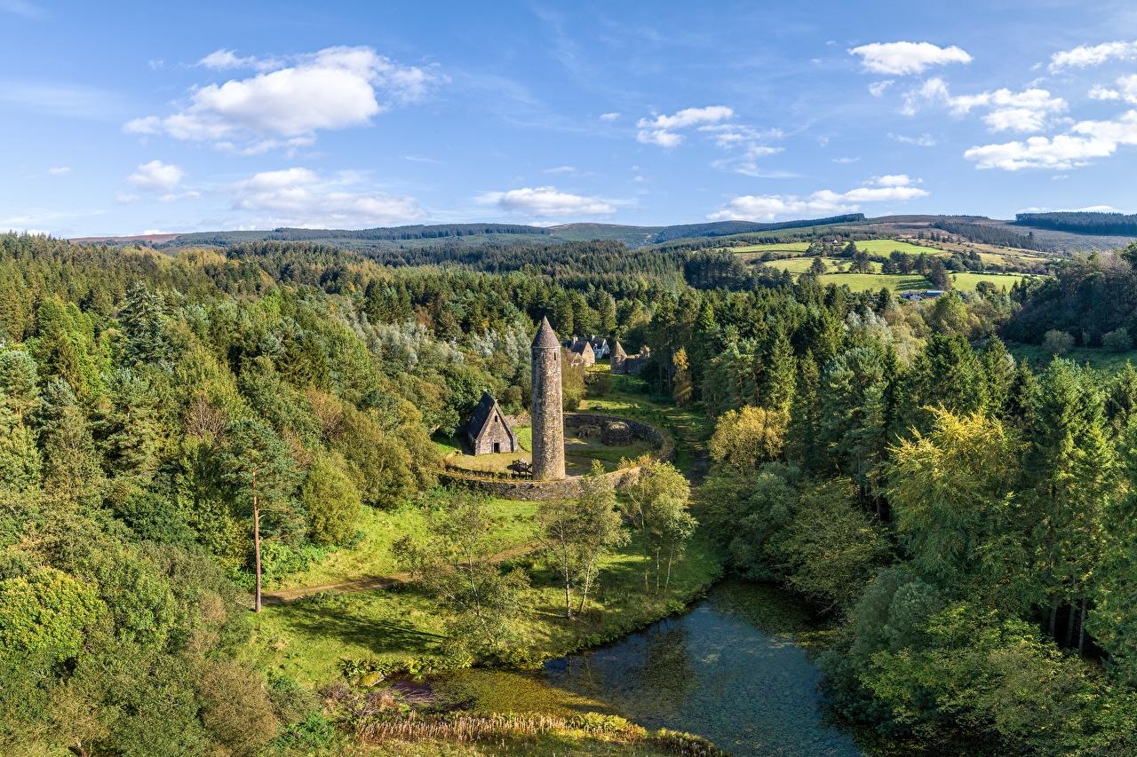 Bilder Vereinigtes Königreich Türme Northern Ireland, Gortin Natur Parks Wälder Steinernen Bäume Turm Wald Park steinern steinerne