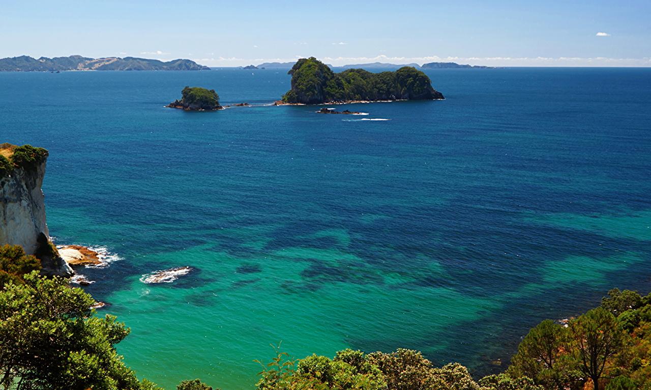 Обои для рабочего стола Новая Зеландия Cathedral Cove Море Природа Остров Побережье берег