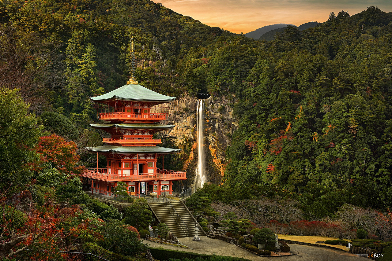 Image Japan Nature Waterfalls Forest Temples