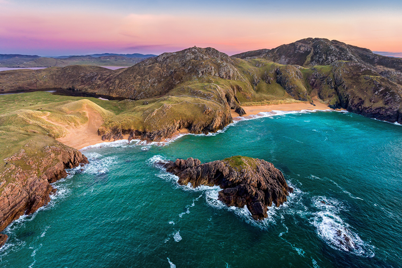 Pictures Ireland Donegal, Boyeeghter Bay Ocean Cliff Nature Coast Crag Rock