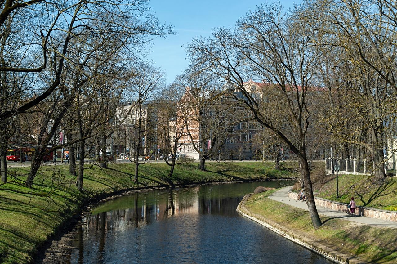 Photos Latvia Riga, Kronvalda Park Canal park Trees Cities Parks