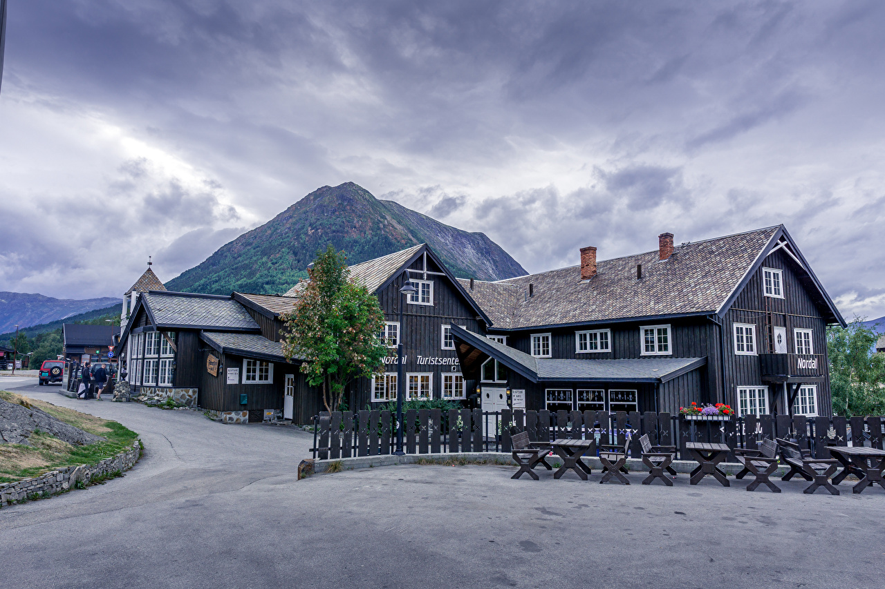 Image Norway Lom Nature mountain Houses Clouds Mountains Building