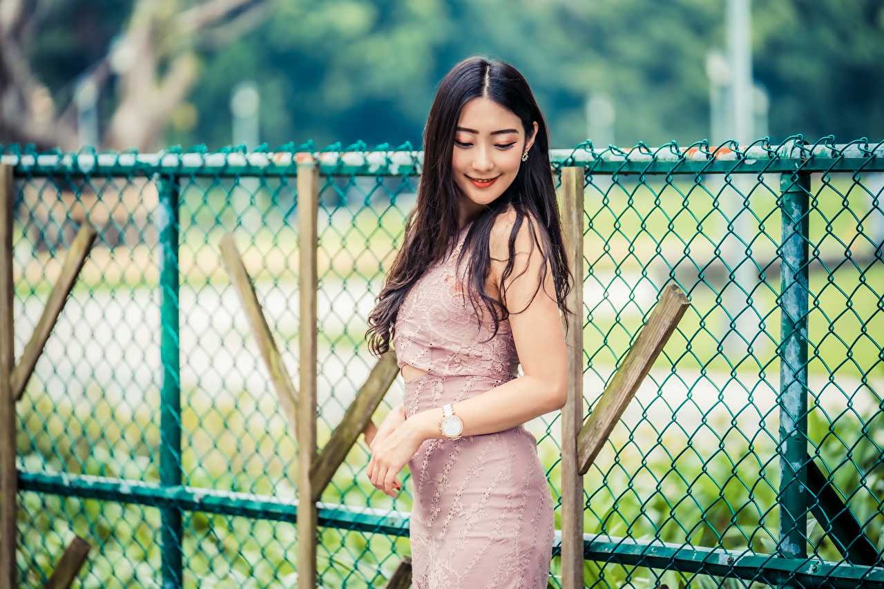 Picture Smile Bokeh female Asian Fence frock blurred background Girls young woman Asiatic gown Dress