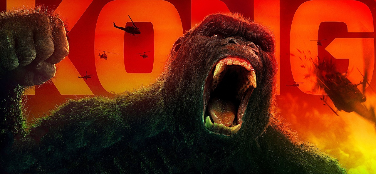Desktop Wallpapers Kong: Skull Island Canine tooth fangs gorilla Roar Movies film angry