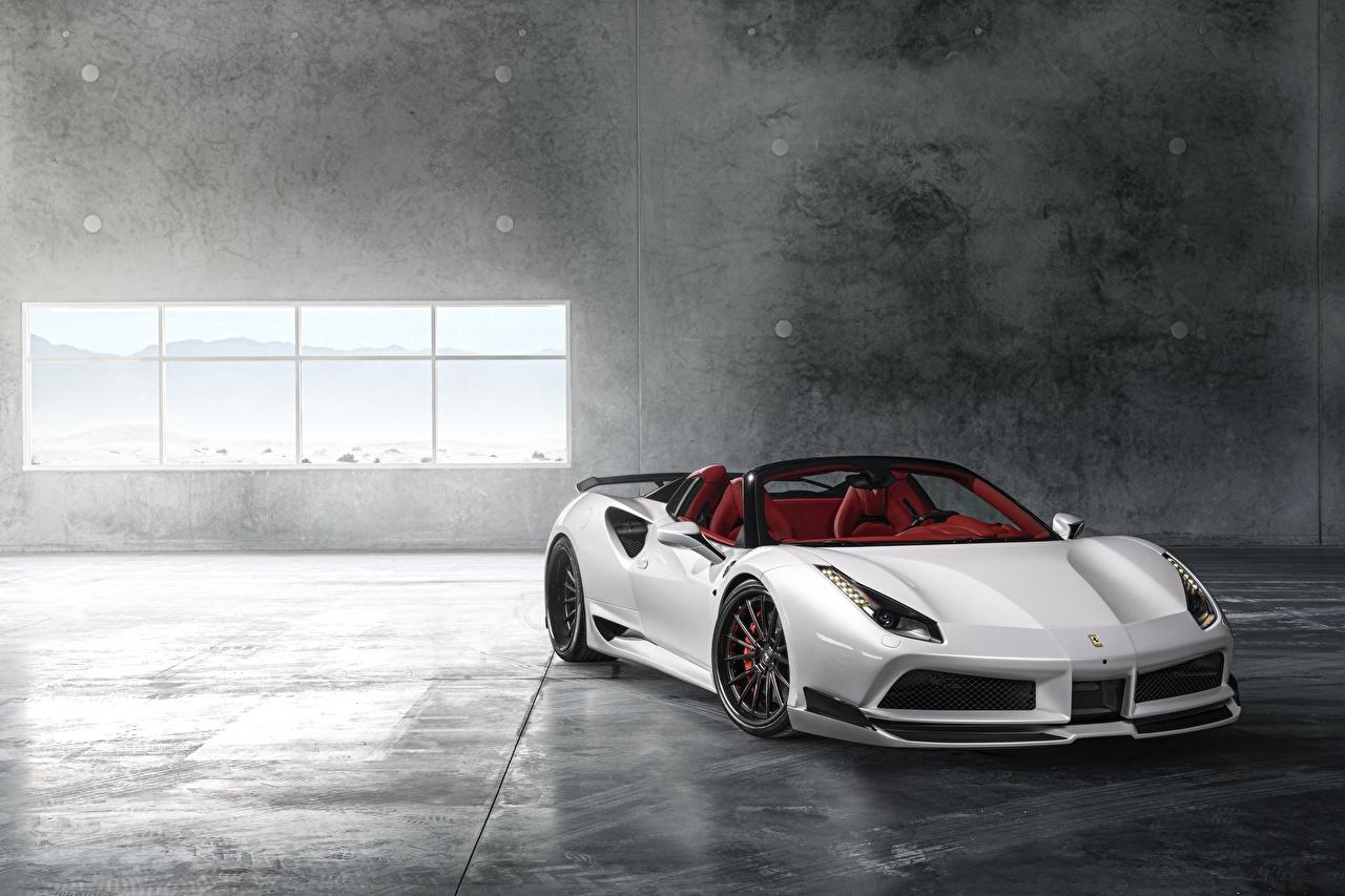 Photo Ferrari Wide 488 Rearl Roadster White auto Cars automobile