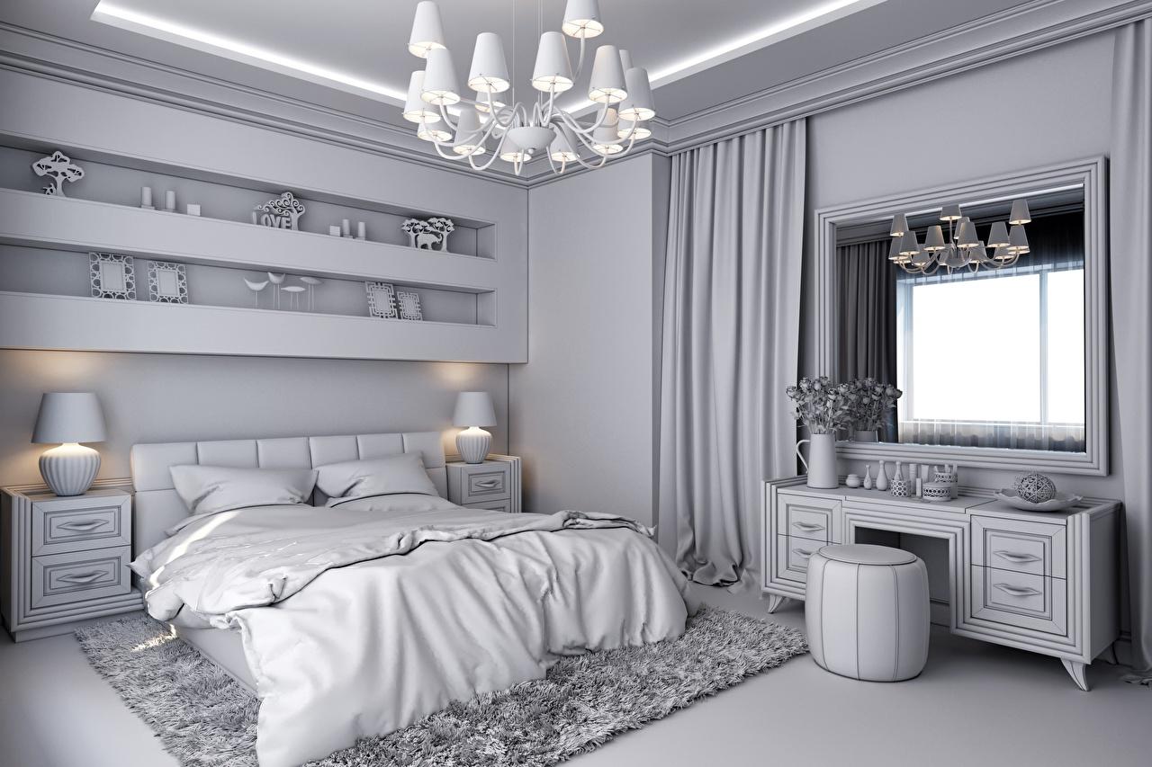 Foto Schlafzimmer 3D-Grafik Innenarchitektur Bett Lampe Fenster Kronleuchter Design Schlafkammer Lüster