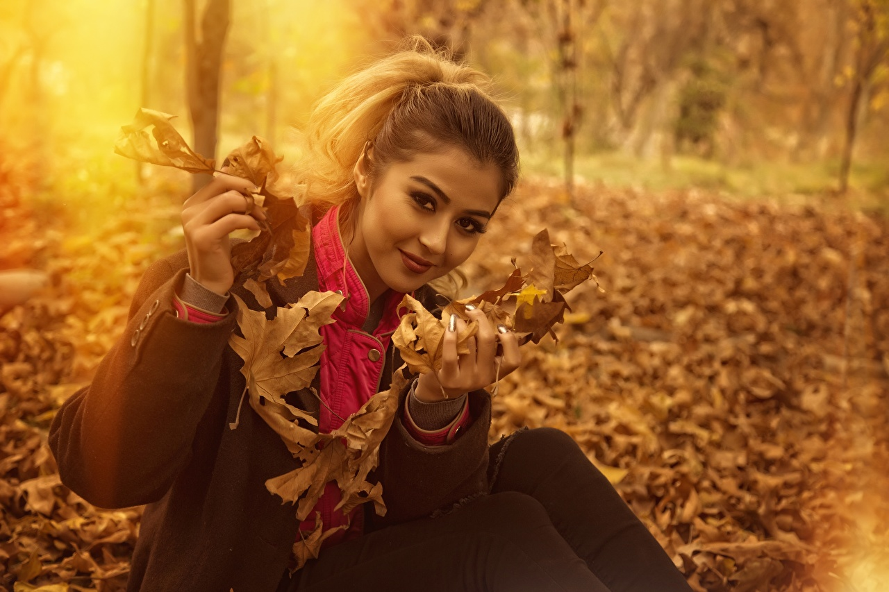 Picture Foliage Bokeh Girls Autumn sit Glance Leaf blurred background female young woman Sitting Staring