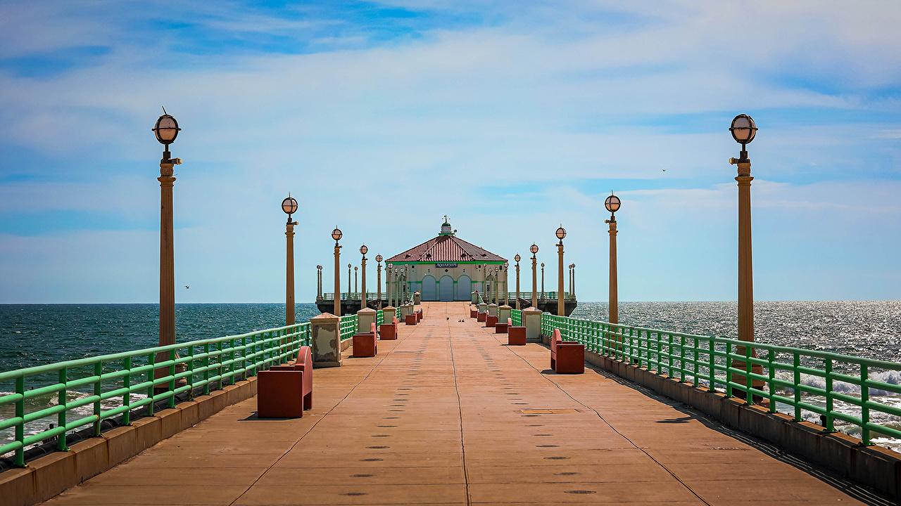 Foto Kalifornien Vereinigte Staaten Manhattan Beach Natur Ozean Schiffsanleger Straßenlaterne USA Bootssteg Seebrücke