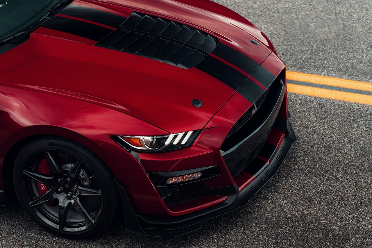 Photo Ford Hood car Mustang Shelby GT500 2019 Red auto Stripes Metallic Cars automobile
