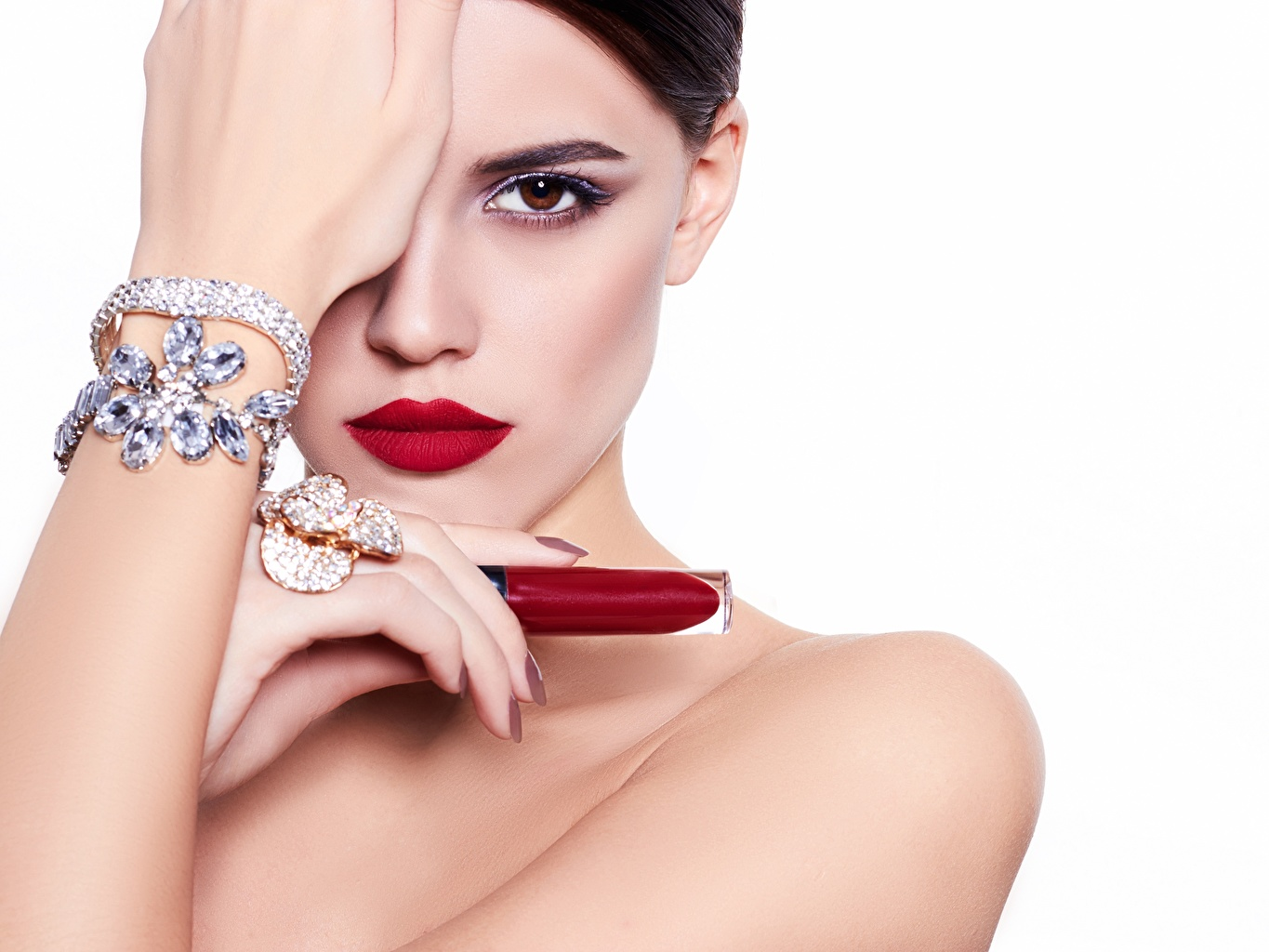 Pictures Model Lipstick Makeup Girls Bracelet Hands Glance White background Jewelry Modelling female young woman Staring