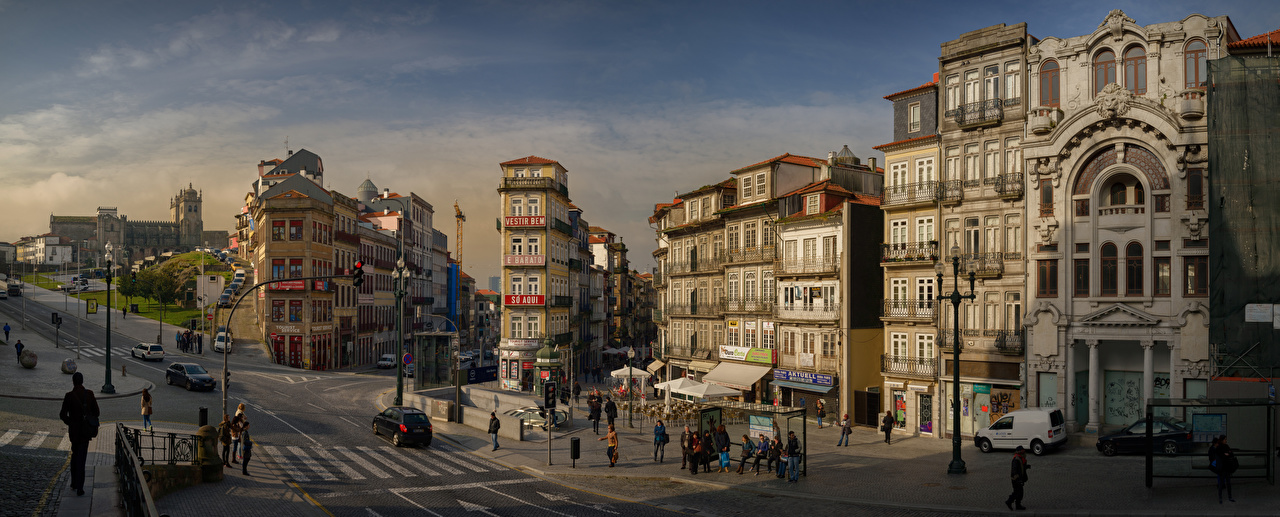 Pictures Porto Portugal Panorama People Street Houses Cities Oporto panoramic Building