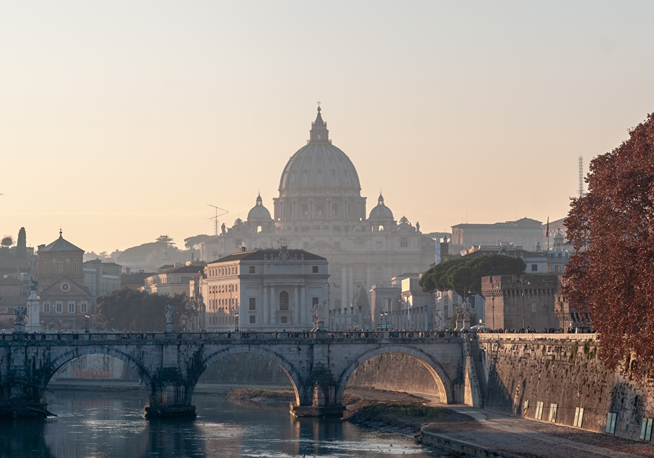 Picture Rome Church Italy Dome bridge Morning Cities domes Bridges
