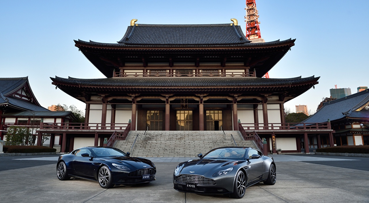 Images Aston Martin Japan temple Zojo-JI, DB11 JP-spec, 2017 Coupe Two Pagodas automobile 2 Cars auto