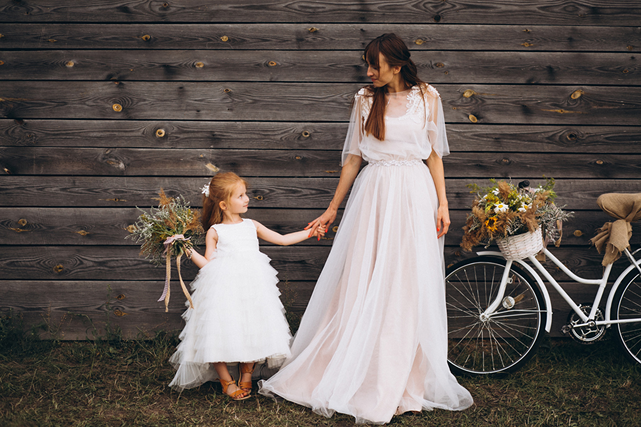 Wallpaper Little girls Bride Brown haired Children Bouquets Two Girls gown Wood planks 2 Dress frock Boards