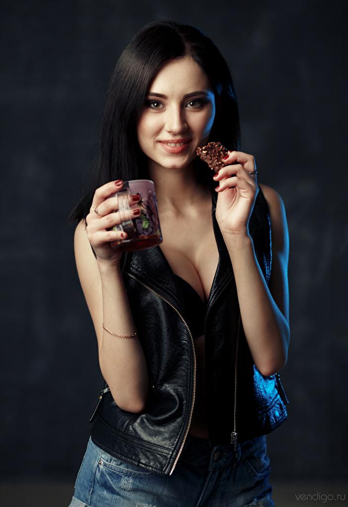 Pictures Brunette girl Smile Irina, Evgeniy Bulatov Girls Mug Hands Glance  for Mobile phone female young woman Staring