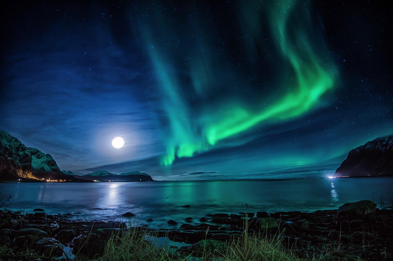 壁紙 ノルウェー ロフォーテン諸島 川 風景写真 オーロラ 夜 月 自然 ダウンロード 写真