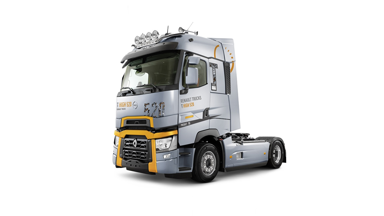 Picture Trucks Renault T High 520 Silver color Cars White background lorry auto automobile