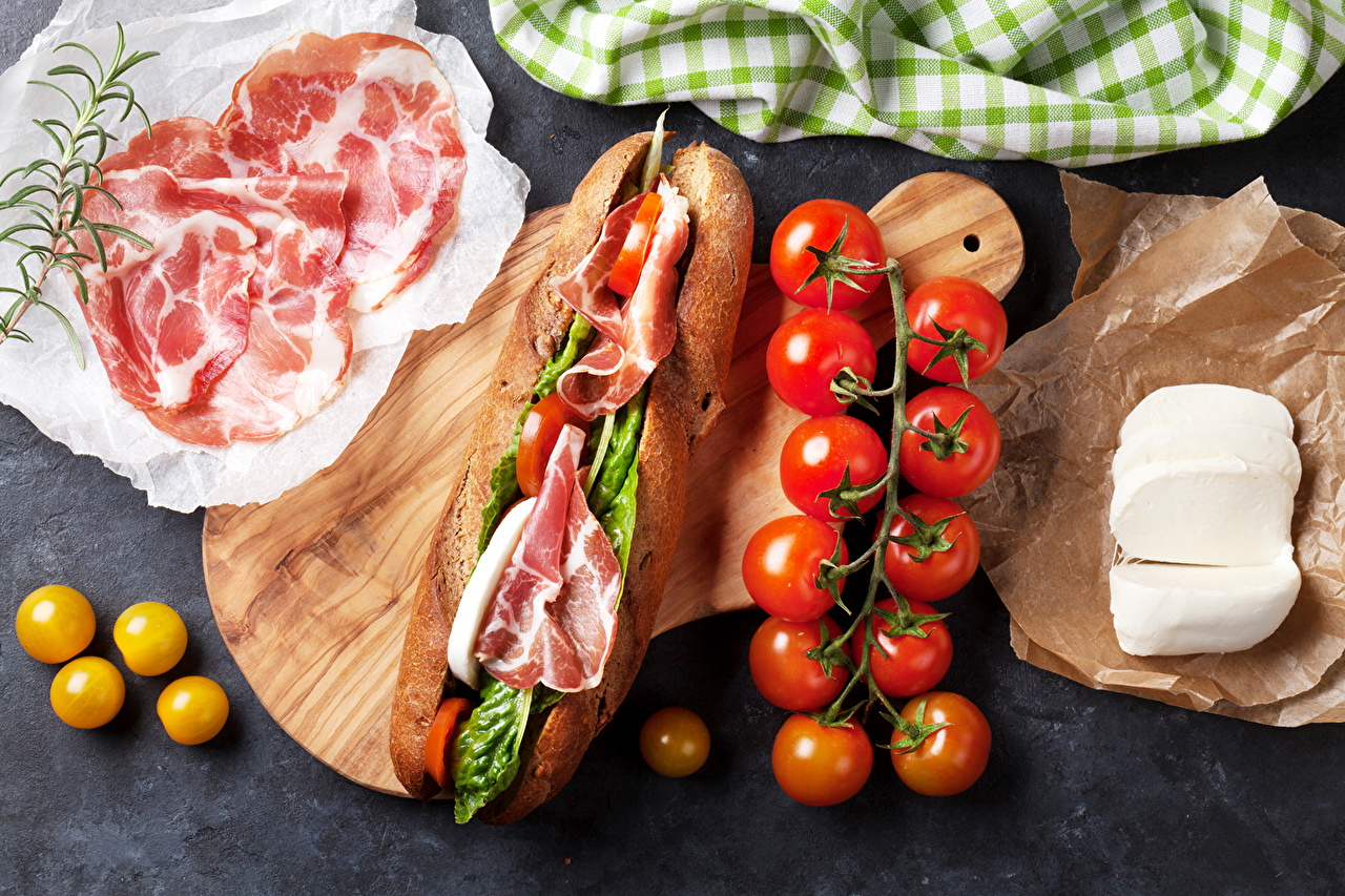 Picture Food Tomatoes Ham Cheese Fast food Butterbrot Sandwich
